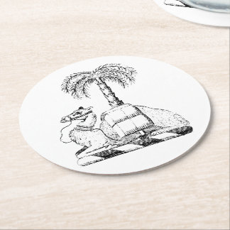Preppy Heraldic Camel Palm Tree Coat of Arms Round Paper Coaster