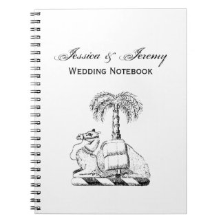 Preppy Heraldic Camel Palm Tree Coat of Arms Spiral Notebooks