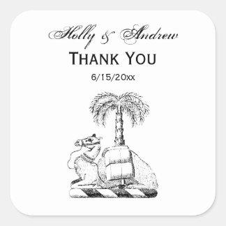 Preppy Heraldic Camel Palm Tree Coat of Arms Square Sticker
