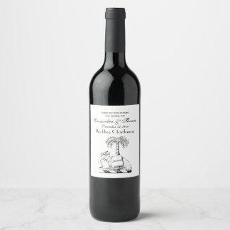 Preppy Heraldic Camel Palm Tree Coat of Arms Wine Label