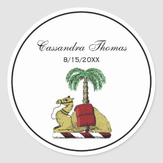 Preppy Heraldic Camel Palm Tree Color Coat of Arms Classic Round Sticker