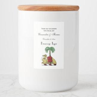 Preppy Heraldic Camel Palm Tree Color Coat of Arms Food Label
