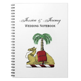 Preppy Heraldic Camel Palm Tree Color Coat of Arms Notebook