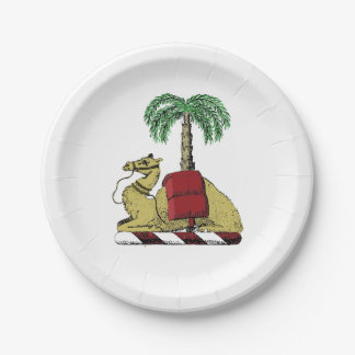 Preppy Heraldic Camel Palm Tree Color Coat of Arms Paper Plate