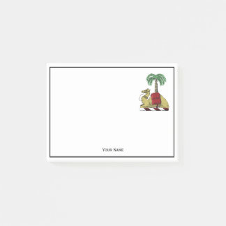 Preppy Heraldic Camel Palm Tree Color Coat of Arms Post-it Notes