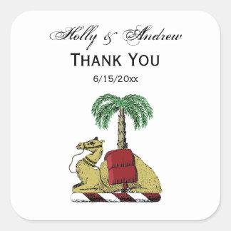 Preppy Heraldic Camel Palm Tree Color Coat of Arms Square Sticker