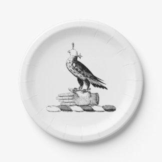 Preppy Heraldic Falcon w Helmet Coat of Arms Crest 7 Inch Paper Plate