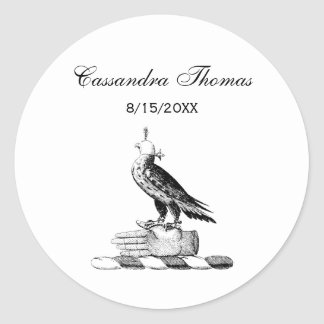 Preppy Heraldic Falcon w Helmet Coat of Arms Crest Classic Round Sticker