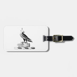 Preppy Heraldic Falcon w Helmet Coat of Arms Crest Luggage Tag