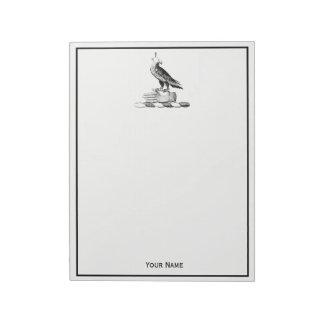 Preppy Heraldic Falcon w Helmet Coat of Arms Crest Notepad