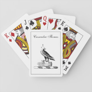 Preppy Heraldic Falcon w Helmet Coat of Arms Crest Playing Cards