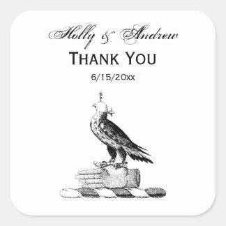 Preppy Heraldic Falcon w Helmet Coat of Arms Crest Square Sticker