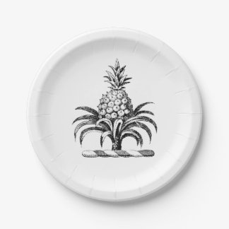 Preppy Heraldic Pineapple Coat of Arms Crest 7 Inch Paper Plate
