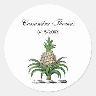 Preppy Heraldic Pineapple Coat of Arms Crest Classic Round Sticker