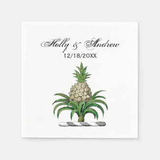 Preppy Heraldic Pineapple Coat of Arms Crest Paper Napkins