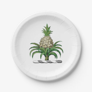 Preppy Heraldic Pineapple Coat of Arms Crest Paper Plate