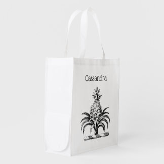 Preppy Heraldic Pineapple Coat of Arms Crest Reusable Grocery Bag