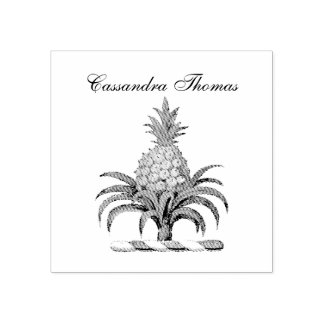 Preppy Heraldic Pineapple Coat of Arms Crest Rubber Stamp