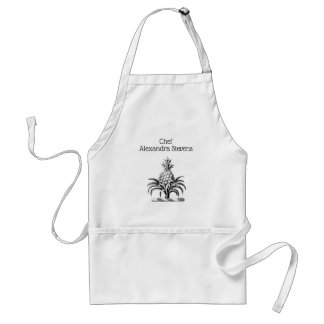 Preppy Heraldic Pineapple Coat of Arms Crest Standard Apron