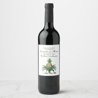 Preppy Heraldic Pineapple Coat of Arms Crest Wine Label