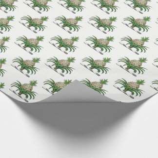 Preppy Heraldic Pineapple Coat of Arms Crest Wrapping Paper