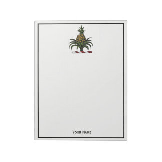 Preppy Heraldic Pineapple Crest Color RWT Notepad