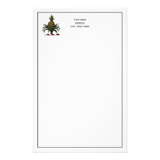 Preppy Heraldic Pineapple Crest Color RWT Stationery