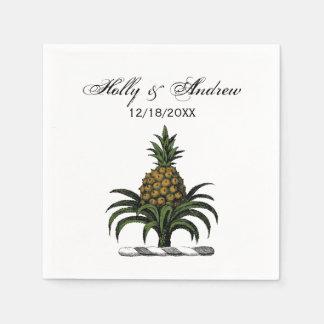 Preppy Heraldic Pineapple Crest Color WT Disposable Serviette