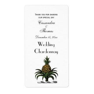 Preppy Heraldic Pineapple Crest Color WT Shipping Label