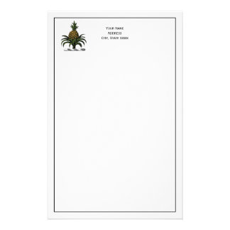 Preppy Heraldic Pineapple Crest Color WT Stationery