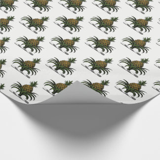 Preppy Heraldic Pineapple Crest Color WT Wrapping Paper
