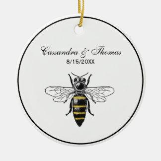 Preppy Heraldic Vintage Bee #2 Coat of Arms C Ceramic Ornament
