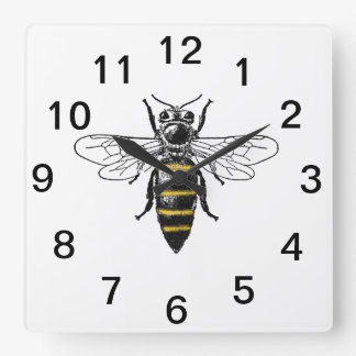 Preppy Heraldic Vintage Bee #2 Coat of Arms C Square Wall Clock