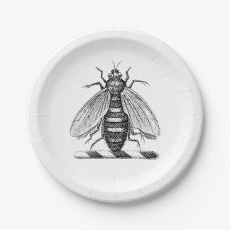 Preppy Heraldic Vintage Bee Coat of Arms Emblem 7 Inch Paper Plate