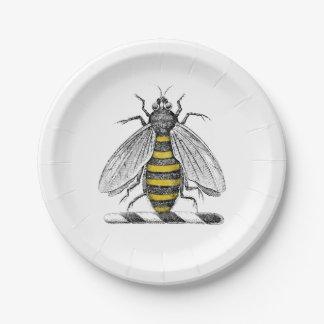 Preppy Heraldic Vintage Bee Coat of Arms Emblem C 7 Inch Paper Plate