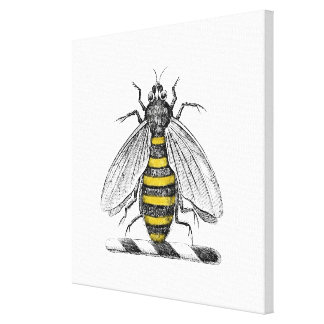 Preppy Heraldic Vintage Bee Coat of Arms Emblem C Canvas Print