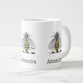 Preppy Heraldic Vintage Bee Coat of Arms Emblem C Large Coffee Mug