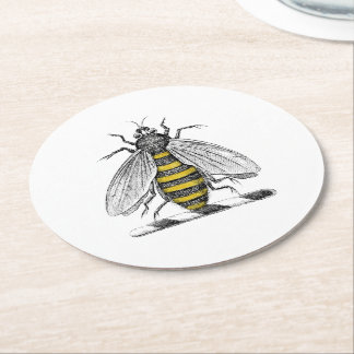 Preppy Heraldic Vintage Bee Coat of Arms Emblem C Round Paper Coaster