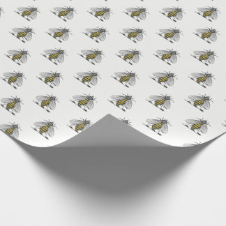 Preppy Heraldic Vintage Bee Coat of Arms Emblem C Wrapping Paper