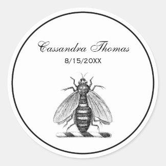 Preppy Heraldic Vintage Bee Coat of Arms Emblem Classic Round Sticker