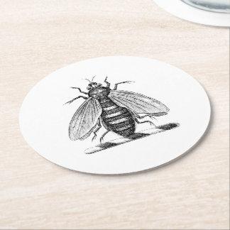Preppy Heraldic Vintage Bee Coat of Arms Emblem Round Paper Coaster