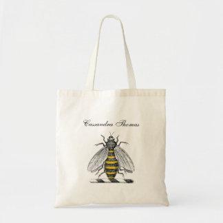 Preppy Heraldic Vintage Bee Coat of Arms Emblem Tote Bag