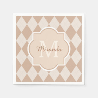 Preppy Light Brown Argyle Girly Monogram and Name Disposable Serviettes