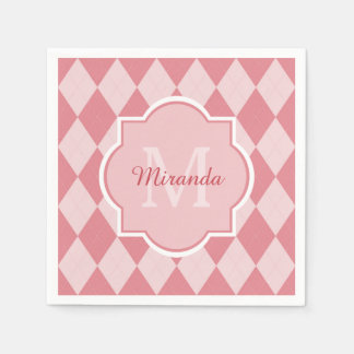 Preppy Light Pink Argyle Girly Monogram Party Name Disposable Serviettes