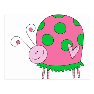 Preppy Lil Pink and Green Ladybug Postcard