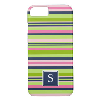 Preppy Lime, Pink and Navy Stripe Monogram iPhone 8/7 Case