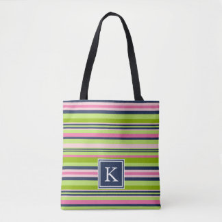Preppy Lime, Pink and Navy Stripe Monogram Tote Bag