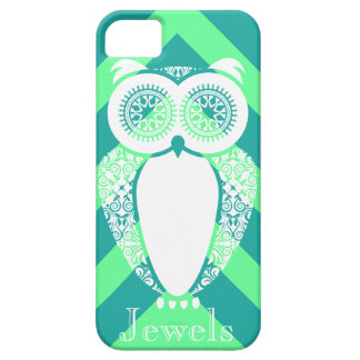 Preppy Mint Chevron Hoot Owl Customize iPhone 5 Covers