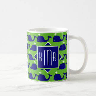 Preppy Monogram | Blue & Green Whales Coffee Mug