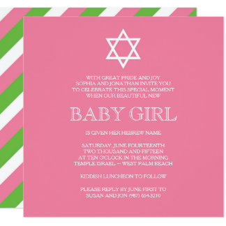 Preppy Naming Day Invitation - Modern